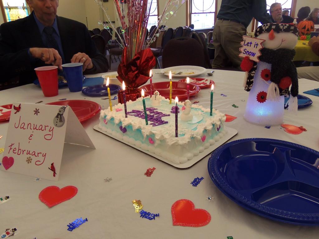 Birthday cake at the January/February table