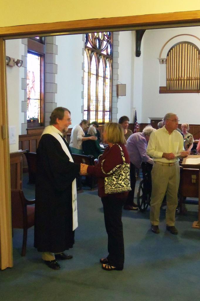 Kay Bishop and Pastor Phillip after worship.