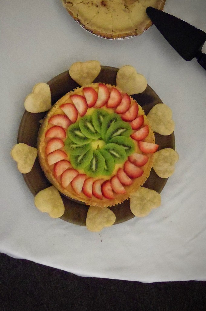 Cheesecake with strawberries and kiwi fruit topping - this was really good!
