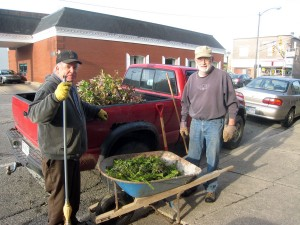 John and Doug loaded clippings on the south side of the building.