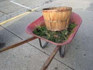 Red wheelbarrow with basket and clippings